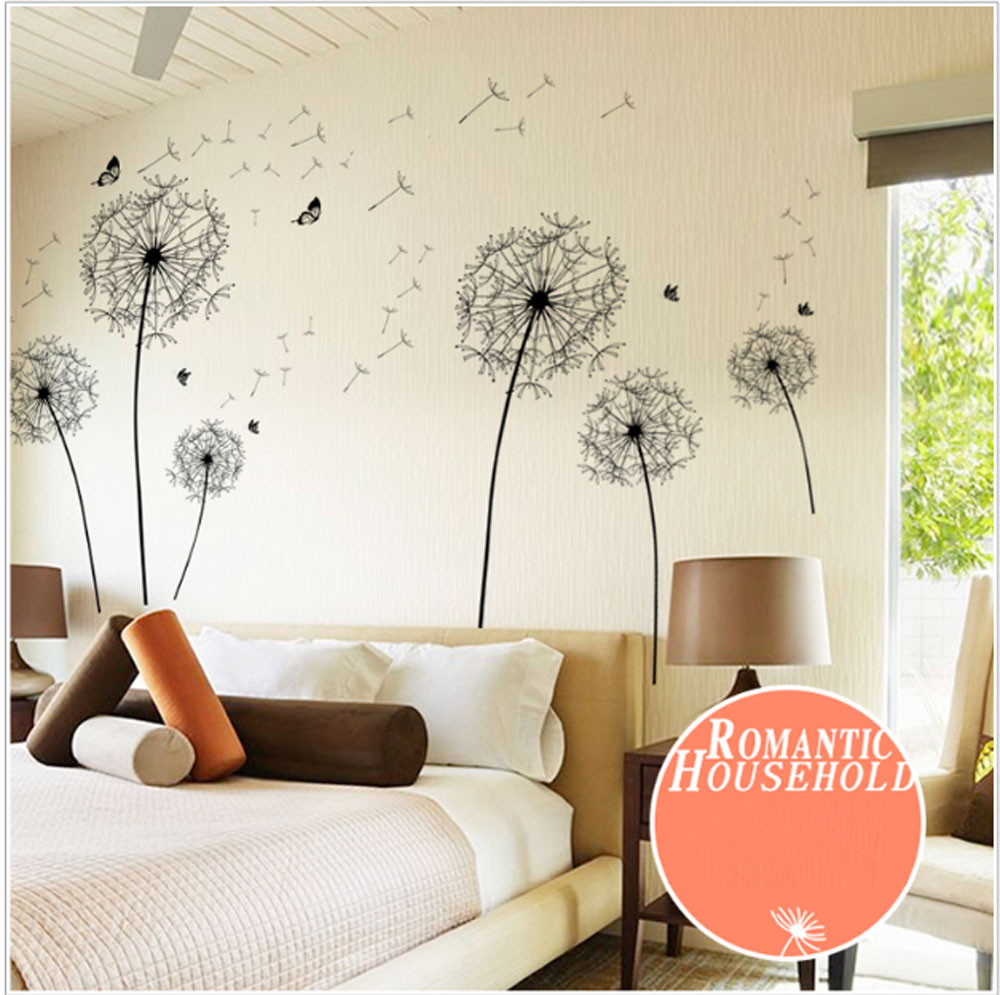 Fashion Heaven Diy Home Decor New Design Large Black Dandelion Wall Sticker Art Decals PVC 17a11