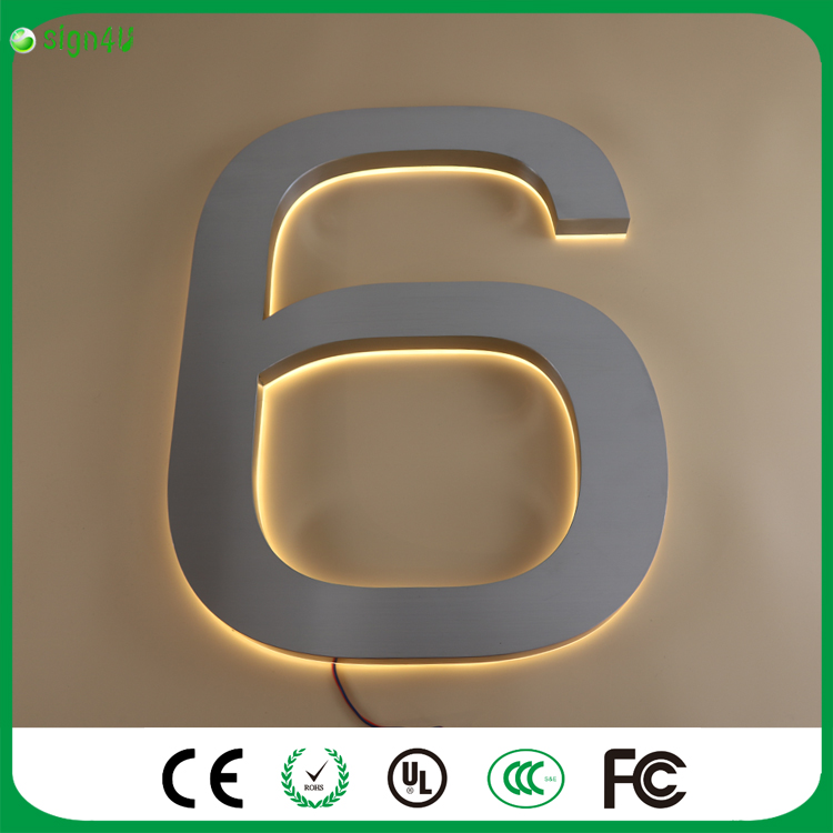 ФОТО Factory Outlet 25cm high 304 Stainless steel backlit led house number signs