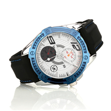 Silver With Blue color case Luxury Quartz Watch VK Men Fashion Casual watches Sports Leather Strap