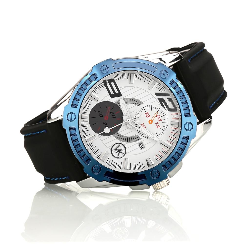 Silver With Blue color case Luxury Quartz font b Watch b font VK Men Fashion Casual