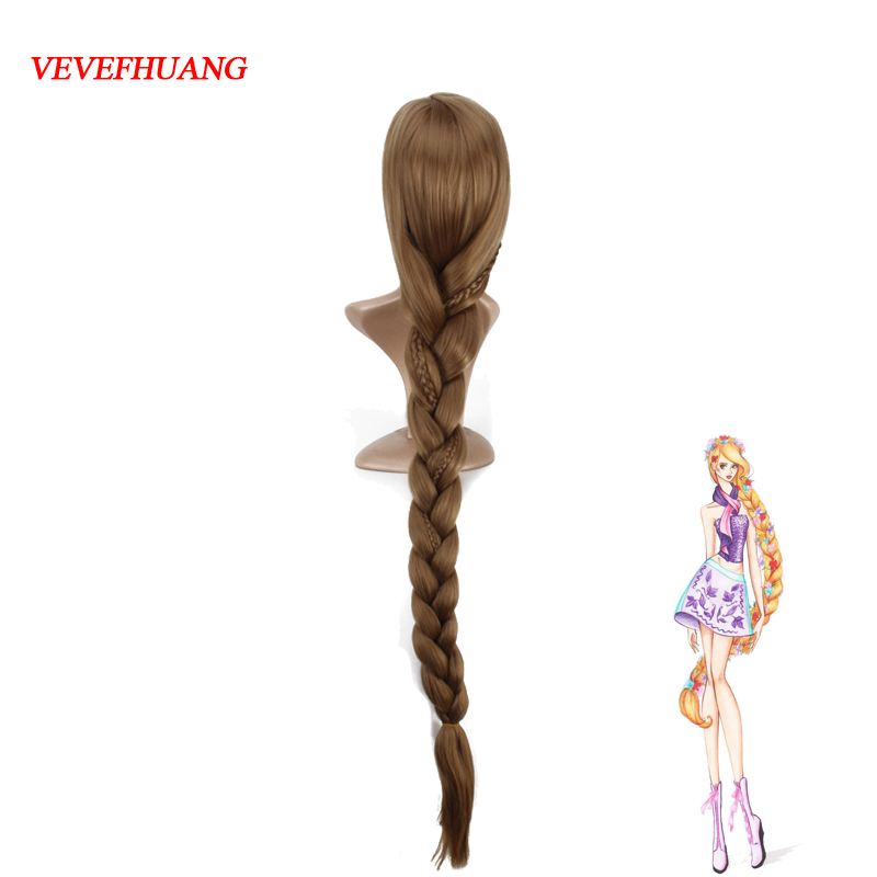 VEVEFHUANG Women Princess Rapunzel Golden Wig Halloween Role Play Tangled gold long Ponytail Cosplay Wig