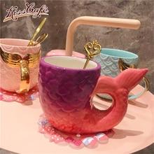 350ml Cute Mermaid Coffee Mug Ceramic Cup Drinking Milk Mugs Breakfast Oatmeal Funny Couple Gift caneca