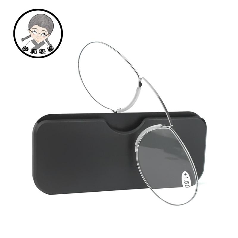 Gafas de lectura de 1,0 a 4,0 cartera portátil lector caso clip de la nariz en Mini gafas de lectura con el caso