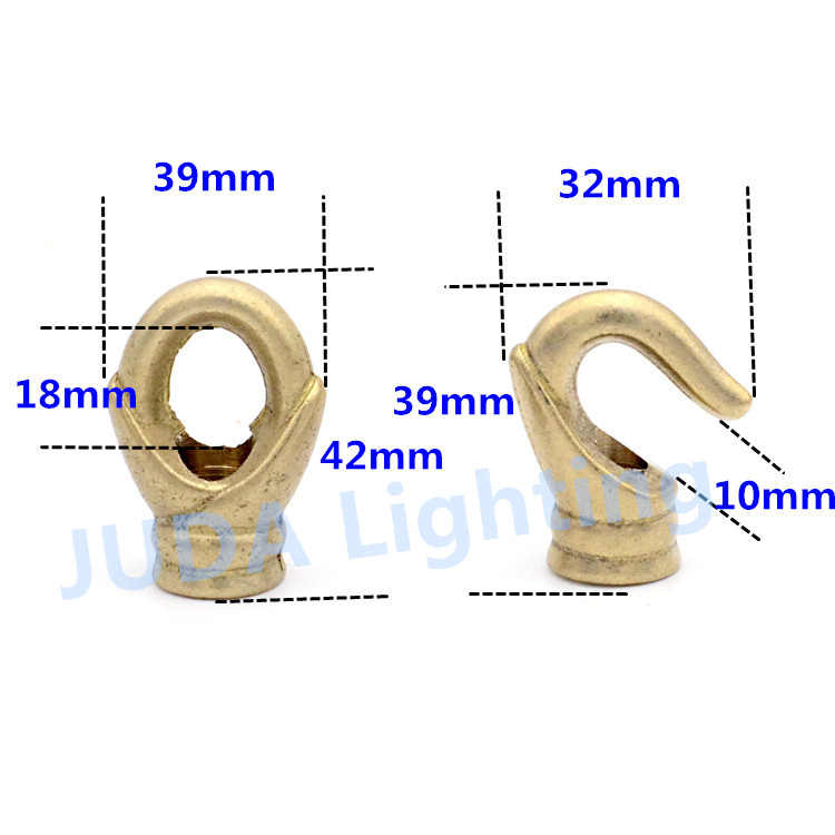 Puur koperen M12 gesloten opening ring messing haak voor kroonluchter plafond plaat plafond rose luifel retro edison base fittings