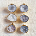 WT-P943 10pcs Natural druzy agate geode pendant 24k real gold plated tiny druzy geode agate pendant for jewelry design