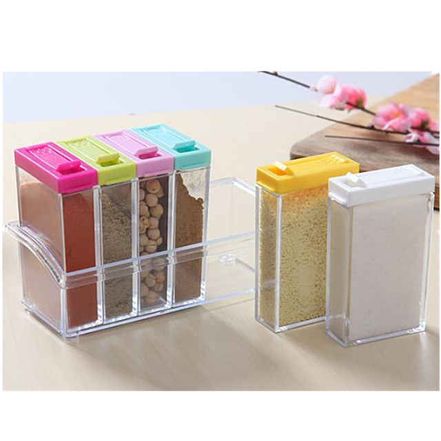 6pcs/lot New Portable Dry Dried Food Cereal Storage Jars Herb U0026 Spice  Container Dispenser
