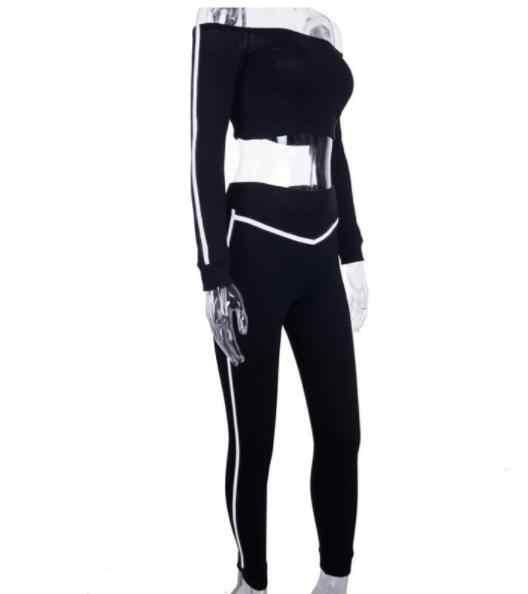 Autumn 2 Piece Set Women Suit Reflective Stripes Strapless Crop Top Legging Skinny Outfit Female Fitness Two Piece Set DV310