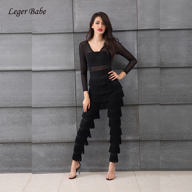 5456d8704091 Leger Babe 2018 Autumn Sexy Long Sleeve Jumpsuits Fringe Plunge V-Neck Mesh Tassel  Jumpsuit