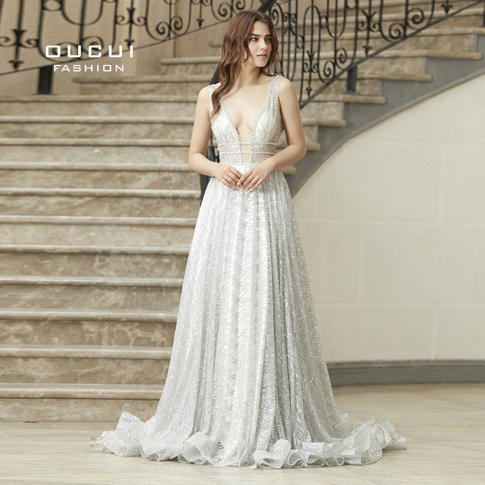 Ivory Sliver Luxury Sparkly Newest Wedding Dress 2019 Sleeveless Sexy Deep V Court Train  Reflective Vestido De Noiva OL103080