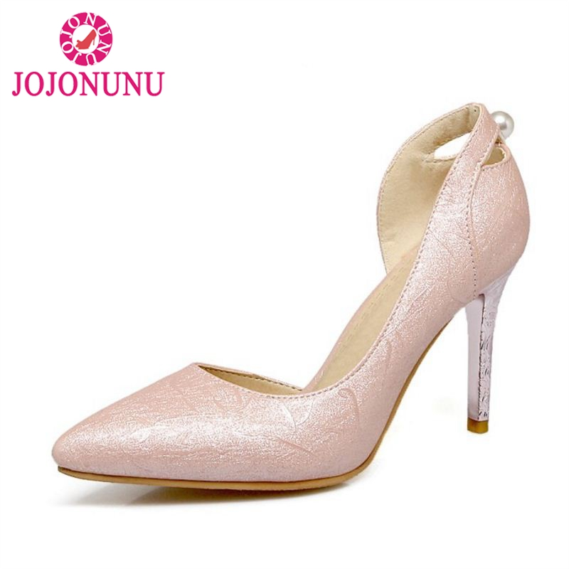 JOJONUNU Size 30-48 Sexy Women High Heel Shoes Women Beading Pointed Toe Print Thin Heels Pumps Office Party Club Women Footwear