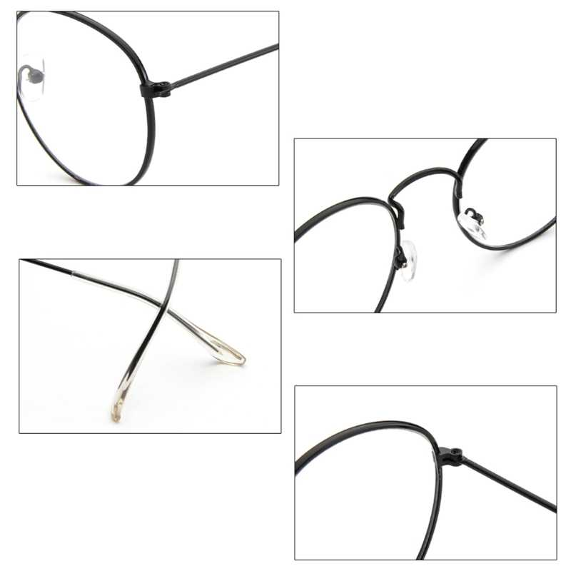 Mulheres Dos Homens De Óculos Óculos de Armação de Metal do vintage Rodada Óculos Limpar Lente Óptica
