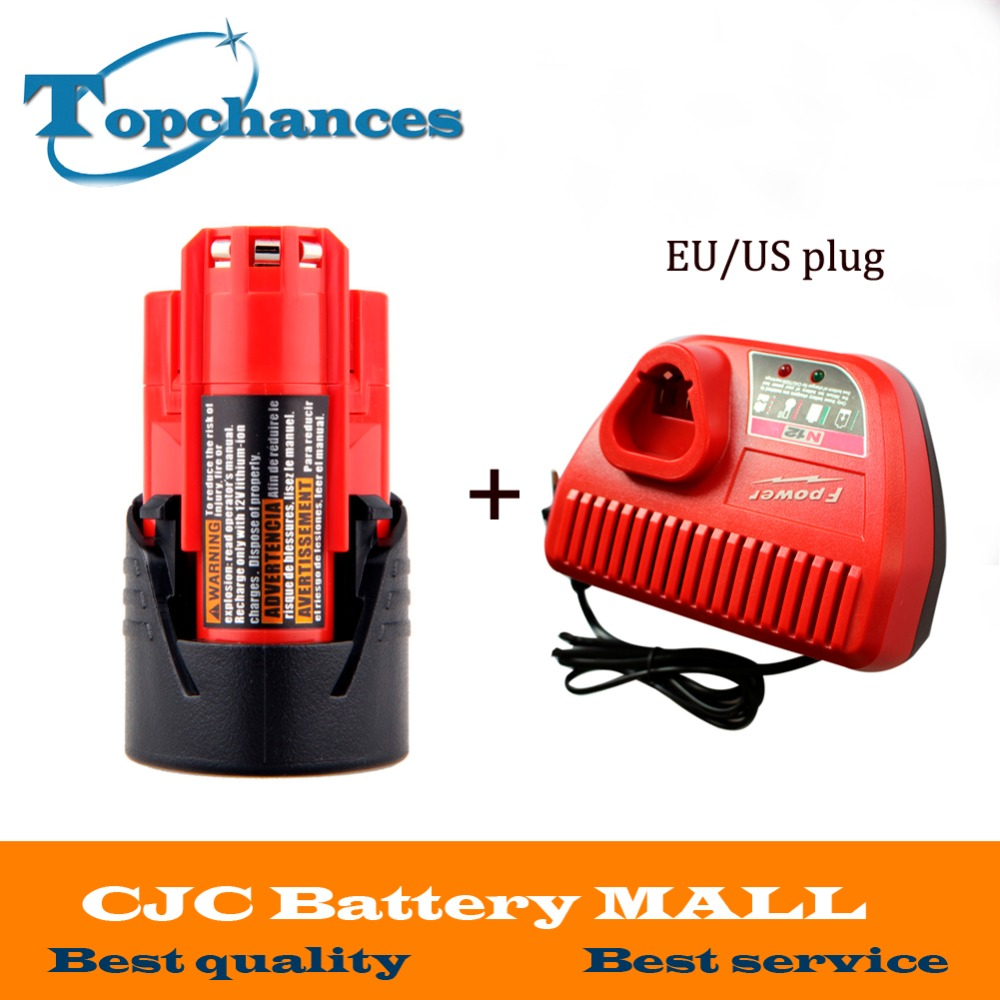 цена на New M12 12V 1500mAh 48-11-2401 Lithium Ion 18Wh Cordless battery for Milwaukee 48-59-1812,2510-20, 48-59-2401+charger