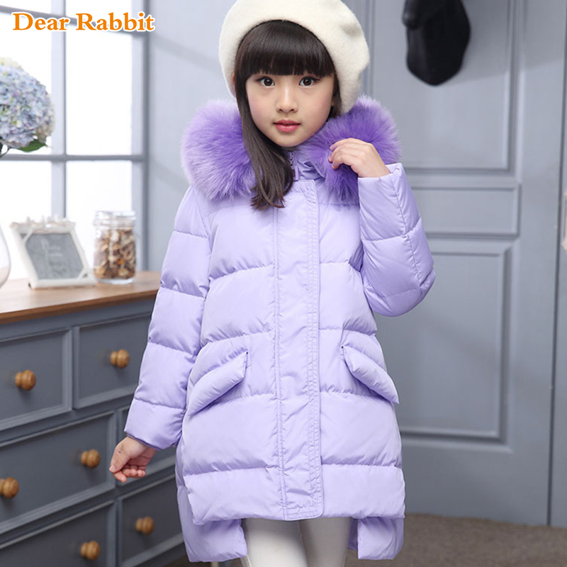 2017 Fashion Girl winter down Jackets Children Coats warm baby 100% thick duck Down Kids Outerwears for cold -30 degree jacket 2018 cold winter warm thick baby child girl hoody long outerwear pink duck down