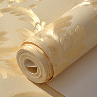 PAYSOTA Luxury European Damascus Flower Wallpaper Non woven Papel Parede Mural Wallpapers Roll Golden 3D Wall Paper