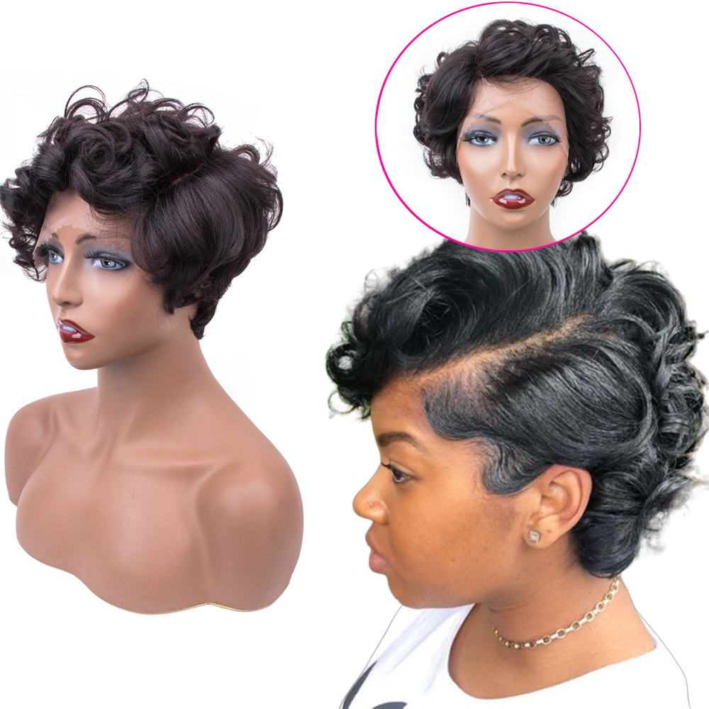 Sapphire Short Wavy Lace Front Human Hair Wigs Remy Human Hair Lace Frontal Wig Brazilian Hair