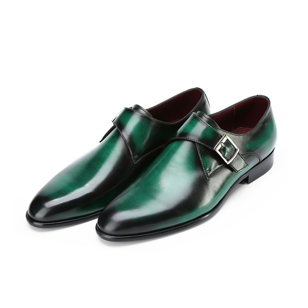 TERSE_5 MOQ fashion monk shoes goodyear welted handmade leather dress shoes luxury green color engraving service OEM ODM