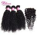 Pelo malasio de la virgen con cierre belleza del pelo malasio rizado el pelo con cierre paquetes de pelo con cierre, 4 unids/lote