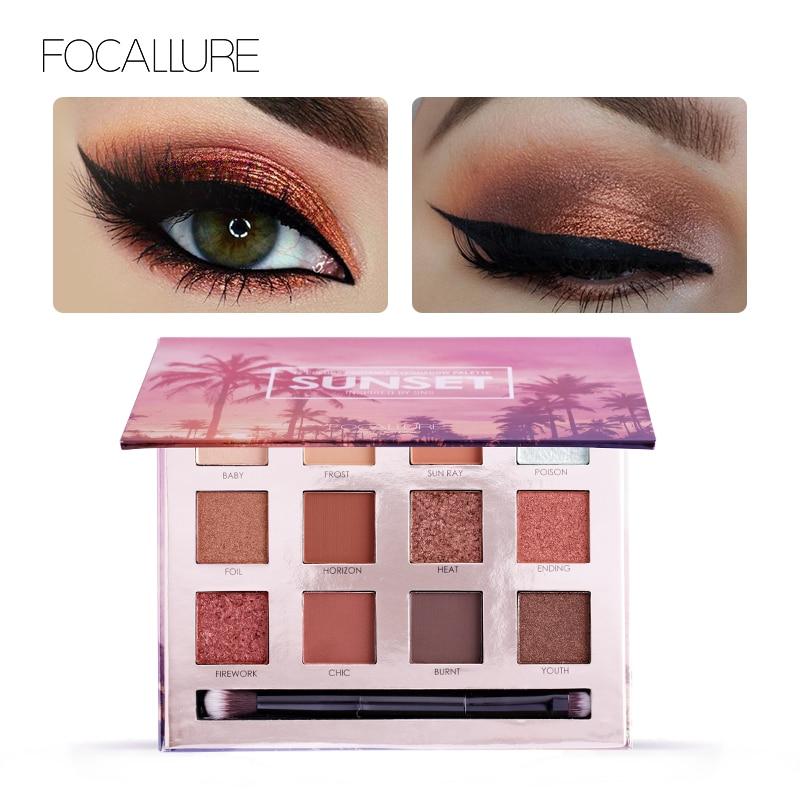 FOCALLURE paleta de sombra de ojos de 12 Colores de maquillaje sombra de ojos brillo mate brillante desnudo hacen arriba brillo pigmento