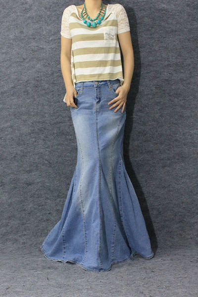 Long jean skirt mermaid – Modern skirts blog for you