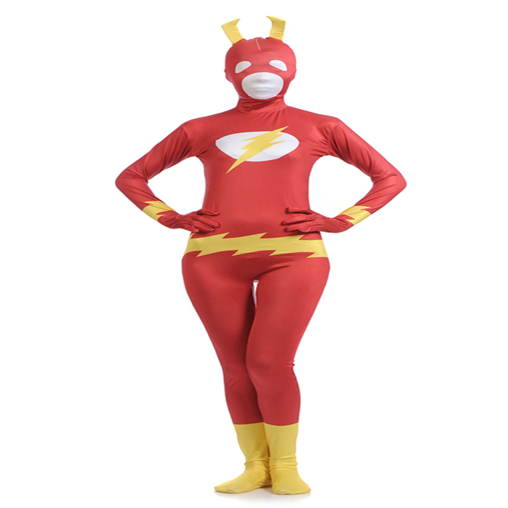 Cosplay Hero The Flash Jumpsuit Adult/Child Halloween Carnival costumesZentai Flash All Inclusive Tights dress costumes