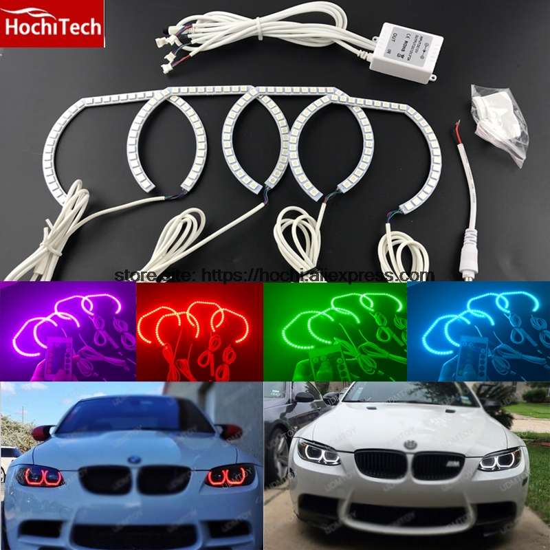 HochiTech RGB Multi-Color LED Angel Eyes Halo Rings kit car styling for BMW 3 Series F30 2012-2015 with halogen headlight for bmw 3 series f30 f31 f34 2012 2013 2014 2015 2016 halogen headlight excellent dtm style multi color rgb led angel eye kit