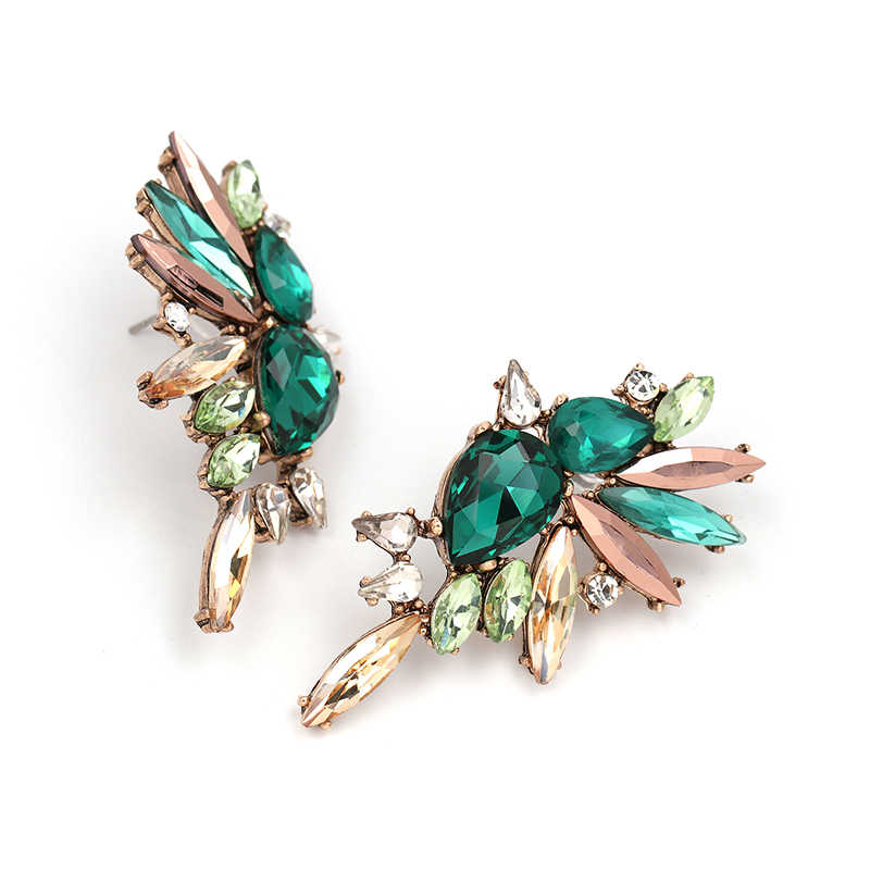JURAN 2019 New Vintage simple green crystal earrings fashion women statement earring girl party summer beach jewelry wholesale