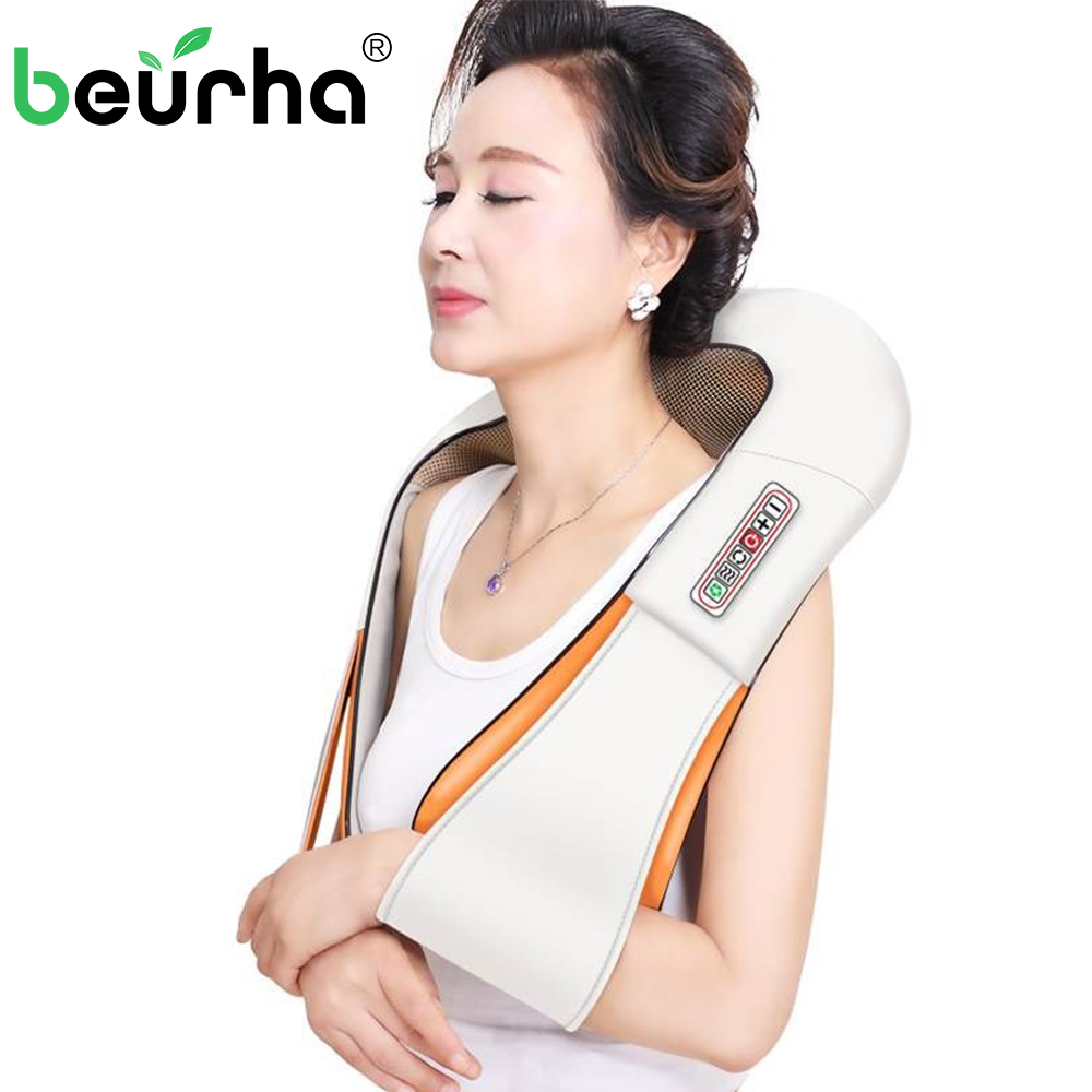 U Shape Electrical Shiatsu Back Neck Shoulder Body Kneading Massage Relaxing Products Infrared Massagem With Box