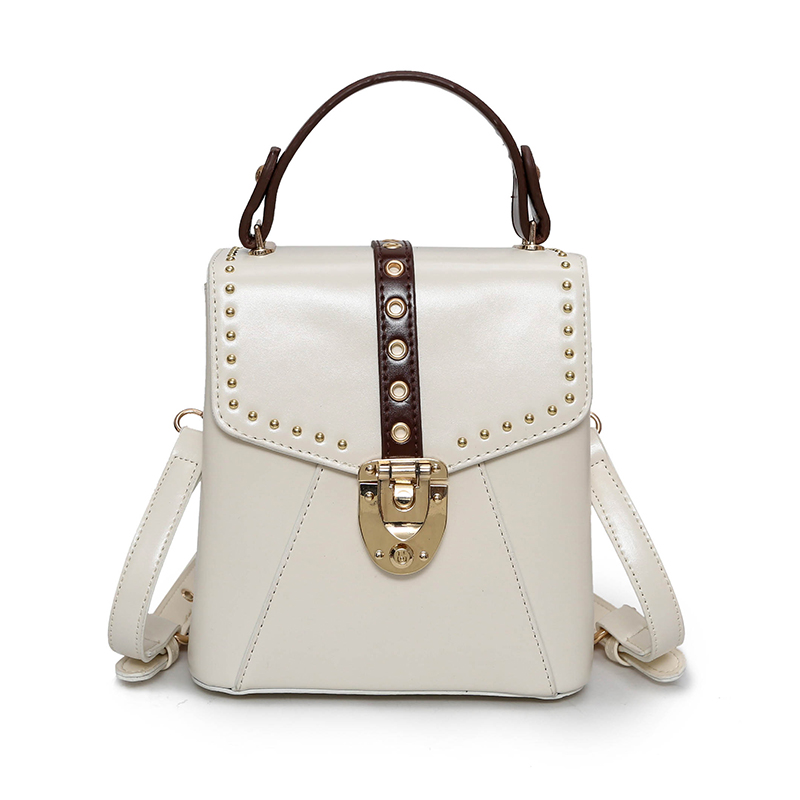 2017 New Rushed Satchels Two Female Bag Tote Mini All-match Rivet Vertical Pure Color Lock Catch Pu Small Shoulder Messenger wenger mini vertical boarding bag 1826 66