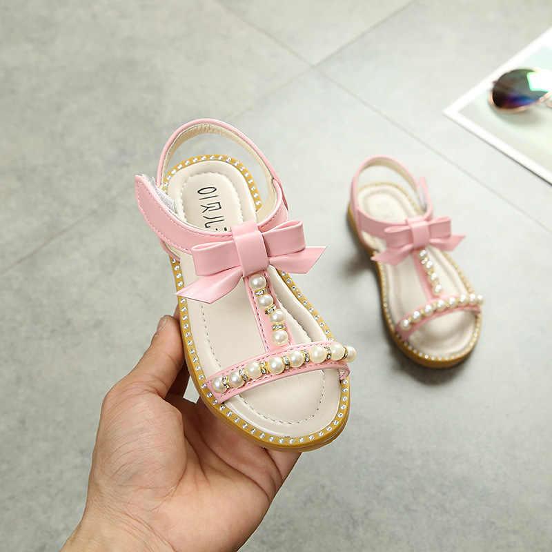 2019 Nieuwe Zomer Kinderen Sandalen voor Meisjes Schoenen Baby Parel Prinses Sandalen Fashion Kralen Pu Leer Open Teen Platte Strand sandalen