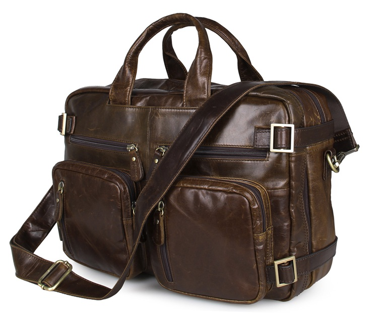 Free Shipping Hight Quality Brown Genuine Leather Men Multifunction Briefcase Laptop Bag # 7026C