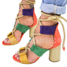 RGKWXYER Women Pumps Lace Up High Heels Gladiator Sandals For Party Wedding Shoes Female Summer Thick 2019