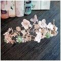 2016 luxury big gold crystal tiaras wedding accessories bridal party hair jewelry flower rhinestone crowns 689