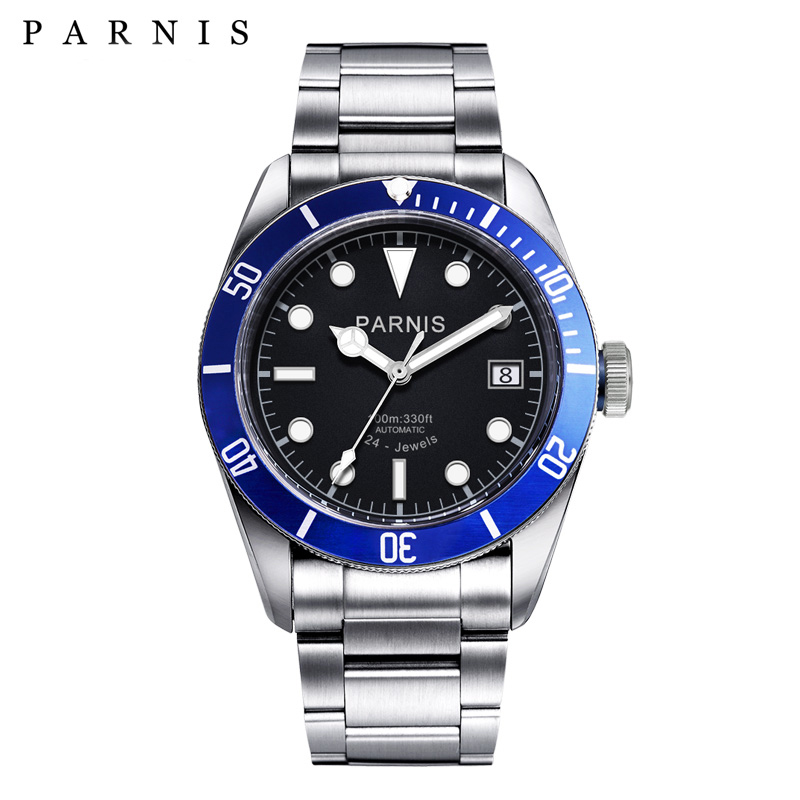 41mm Parnis Automatic Watch Men Full Stainless Steel Luminous Auto-Date 21 Jewle Luxury Brand Men's Mechanical Watches Wristwach top brand luxury mens mechanical watches parnis 41mm full stainless steel automatic watch men rotating bezel luminous wristwatch
