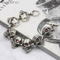 Real 925 Sterling Silver Skeleton Bracelet for Men Women Inlaid Natural Stone Punk Rock Skull Charm Chain Bracelet Bangle Gifts