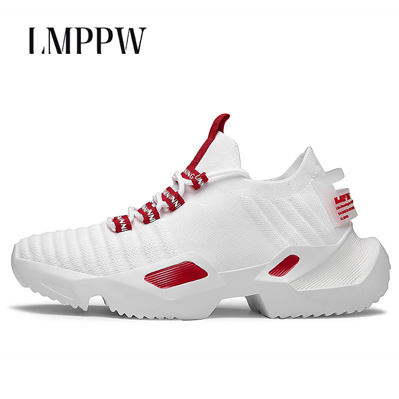 Été De Mode Hommes de Chaussures Flyknit Respirant Hommes chaussures décontractées Noir Blanc Chunky Sneakers pour chaussures pour hommes De Luxe de Marque Conception