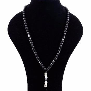 38b4a9c59a1c Dropship Vintage negro Lava Mala piedra COLLAR COLGANTE de Buda Rosario  collares para las mujeres hombres oración joyería Collier Femme