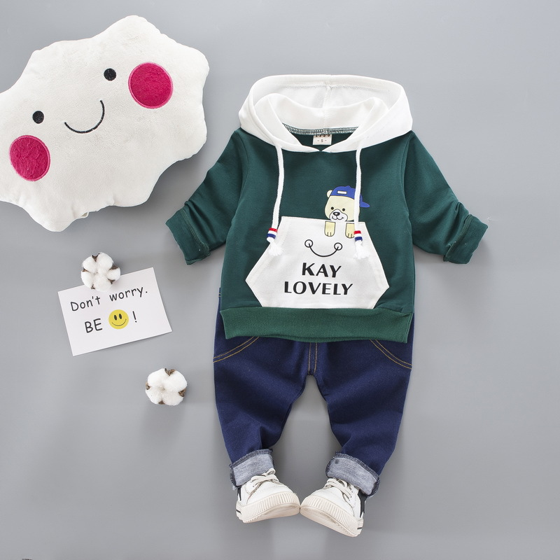 2017 autumn fashion Newborn Baby boys Clothes Cartoon Bear Cotton Hooded Jacket+Jeans Pants 2pcs suit newborn baby clothing sets cotton baby rompers set newborn clothes baby clothing boys girls cartoon jumpsuits long sleeve overalls coveralls autumn winter