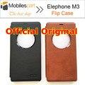 Elephone m3 case oficial 100% original leather flip case capa com magnetic sensor hall interruptor telefone case para elephone m3