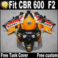 Ajuste de plástico para Honda CBR 600 F2 carenado kit 1991 1992 1993 1994 carenados negro Orange Repsol cbr600 91 92 93 94 cv42