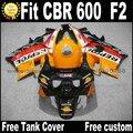Plastic fit for HONDA CBR 600 F2 fairing kit 1991 1992 1993 1994 fairings black orange REPSOL  CBR600 91 92 93 94 CV42