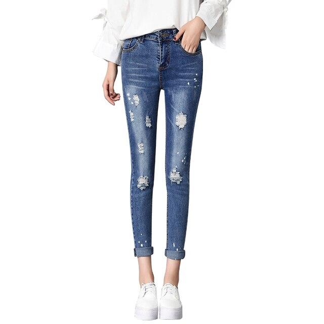 2018 new design popular nice woman Jeans women s cute broken torn ripped  Jeans boyfriends girl slim stretch denim pants femme 2de0467606