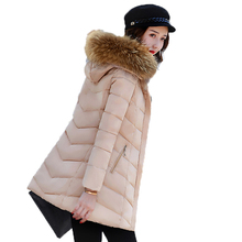 2017 Winter Long Female Parkas Slim Wadded Jackets Cotton-padded Faux Fur Collar Hooded Coat Fashion Ladies Warm Outwears YP0443
