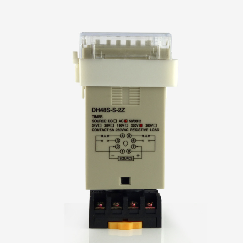 DH48S-S-2Z high quality AC 220V repeat cycle DPDT time relay with socket DH48S series 220VAC delay timer with base zys48 s dh48s s ac 220v repeat cycle dpdt time delay relay timer counter with socket base 220vac