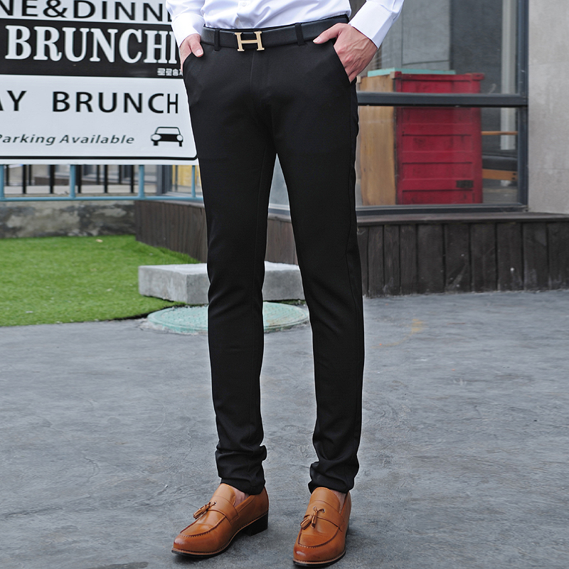 Fashion autumn pants solid color casual skinny slim fit dress mens ...