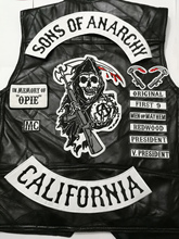 2015 Black 14pcs/set Sons of biker patches for Vest clothing of Anarchy patches badges sticker iron on applique embroidered