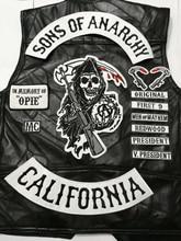 2015 nero 14 pz/set Sons of biker patch per vestiti Della Maglia di trasporto di Anarchia patch badge sticker ferro sul applique ricamato