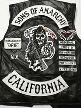 2015 siyah 14 adet/takım Sons biker yamalar yelek giyim anarşi yamalar rozetleri sticker demir on aplike işlemeli