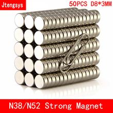 Jtengsys 50pcs n38 n52 Neodymium magnet 8x3 Rare Earth small Strong Round permanent 8*3mm fridge plate nickle magnetic DISC