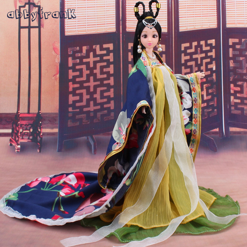 Abbyfrank Doll Toy Princess 12 Movable Joints Dolls Model Accessories Plastic Body Soft Clothes Kids Gifts Dolls For Girls 35cm collectible chinese dolls ancient costume summer girl dolls with 12 joints movable vintage season series bjd doll toys gift