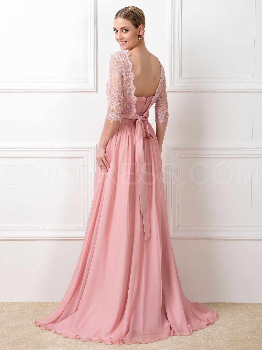 Modest Lace Peach Long Chiffon Half Sleeve Dresses For Bridesmaid ...